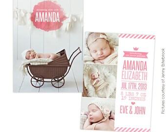 INSTANT DOWNLOAD - Birth announcement template - Princess Amanda  - E757