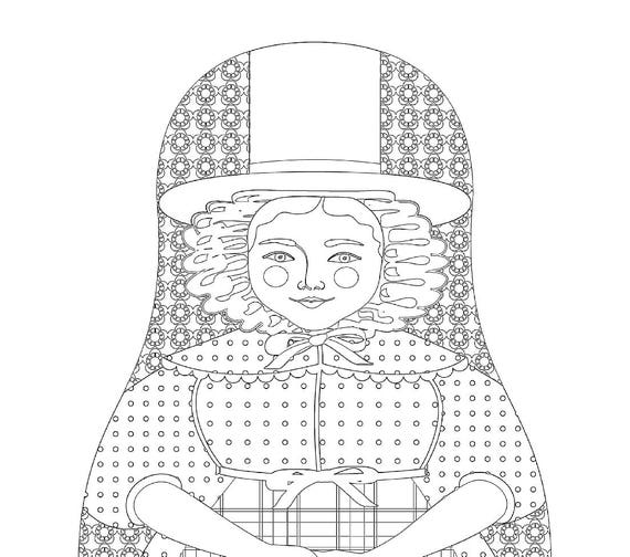 Welsh Doll Traditional Dress Coloring Sheet Printable Matryoshka