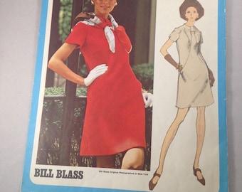 Vintage 1960s Cut Vogue 2258 Americana Bill Blass Dress Pattern Size 10