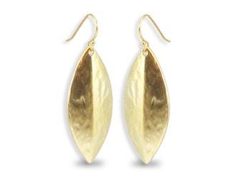 Gold Leaf Earrings, Matte Gold Earrings, Brushed Gold Earrings, Leaf Earrings, Gold Earrings, Natural Earrings, Large Leaf Earrings