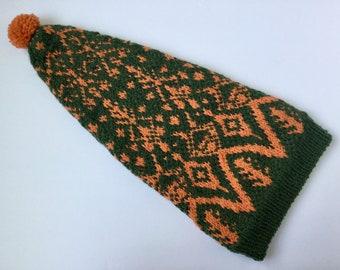 Hand Knit Green Orange Long Hat, Stranded Colorwork, Fair Isle Knit hat, Slouchy Hat, Wool Gift, Handmade accessories, 100% Wool