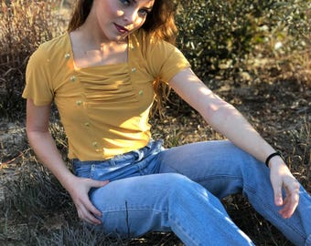 Vintage Yellow Embroidered Top
