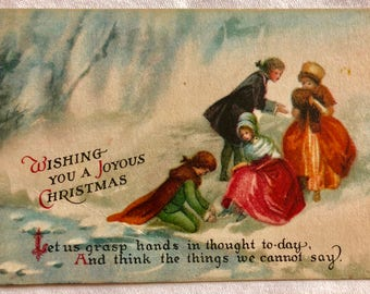 Vintage Christmas Postcard- Family in the Snow