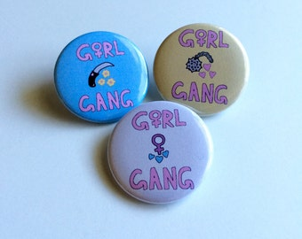 Girl Gang Pinback Button, Girl Gang Pin, Girl Gang Button, Feminism Pin, Feminist Pin, Venus Symbol Pin, Feminist Button, Girl Power Pin