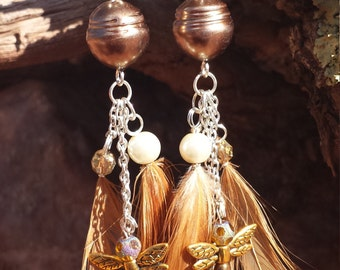 Dragonfly dangles, Feathers, Earth tones, Nature