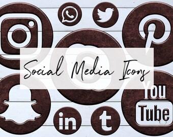 Bronze Metal Social Icons Set, Metal Social Media Icons, 15 PNG Bronze Icons, Round Social Media Buttons, Instant Download, BUY3FOR6