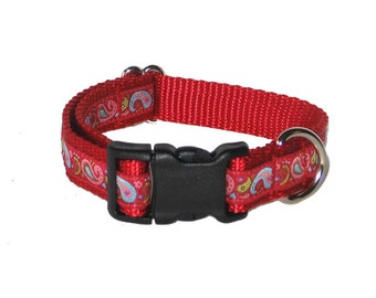 "Red Paisley Dog Collar - 3/4"" Dog Collar, Martingale, Harness or Leash"