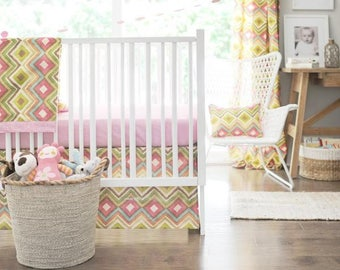 Street of Dreams Pink and Yellow Baby Bedding Set