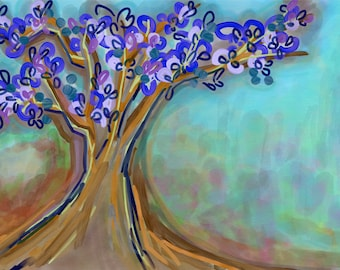 Magnolia tree, Digital painting, Digital download only, abstract tree