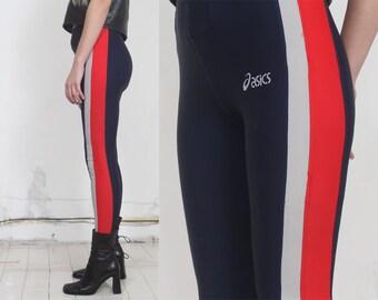 90s navy elastic hi waist side striped drawstring sport leggings s