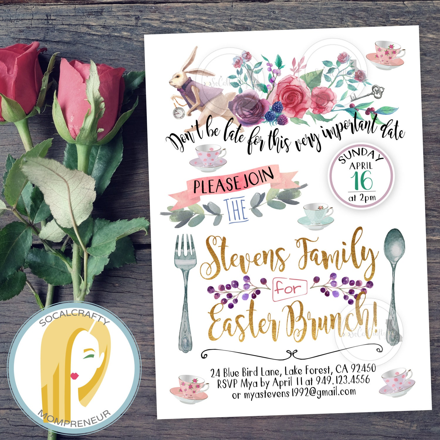 Alice In Wonderland Invitation Tea Party Invitation Bridal