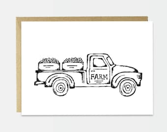 Thank You Card - Simple Thank You Card - Farm Illustration - Black and White Drawing - Farm House Style - Country Chic - Simple Card