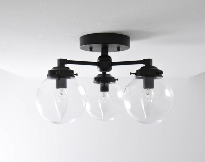 Hawthorne Semi Flush [Matte Black - Mid Century - Modern - Industrial - 3 Light - Candelabra - Glass Globe - UL Listed]