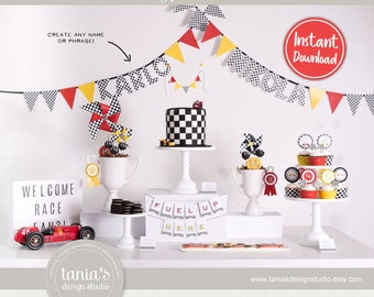 Race - Time Races - Printable Checkered Banner - Instant Download - Time Race Birthday Collection by Tania's Design Studio