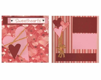 Valentines Day Layout Scrapbooking Kit Supplies Complete Ideas SweetHearts 12x12 2 page with instructions Sweethearts Pinks Scrapbook