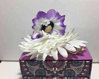 Handcrafted, One of a kind, Fairy decoration, Jewelry Box.