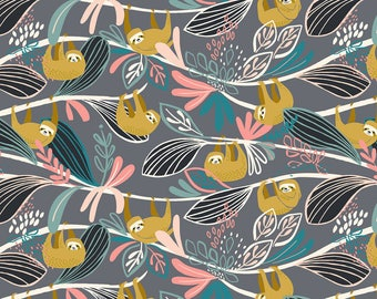 Hanging Sloths on Gray from Blend Fabric's Rainforest Slumber Collection by Katy Tanis