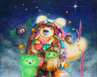 Fox Print - Bear Prints - whimsical - Bears - Mushroom - forest - Leaves - Blue