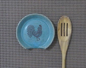 Spoon Rest - Handmade Stoneware Pottery Ceramic - Blue Celadon - Rooster