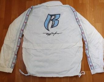 Ruff Ryders jacket, vintage DMX pullover 90s hip-hop clothing, white basketball windbreaker, 1990s hip hop shirt, gangsta rap, size M Medium