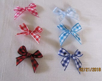 Mini Gingham  Bows - 5 Count