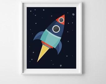 Boys room decor, nursery decor, playroom wall art prints, rocket ship decor, boys room wall art nursery print, printable wall art kids decor