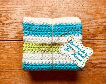 Spring Crochet Dishcloth / Washcloth Set- Hostess / Housewarming Gift - Environmentally Friendly