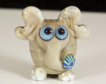 I Heart Elephants Lampwork Glass Bead