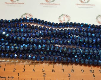 1 strand of 6x4mm Faceted Rondelle Cobalt Blue metallic finish Chinese Crystal