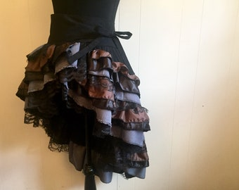 Gothic Americana Black and Forest Brown Ruffled Burlesque Style Adjustable Bustle Skirt