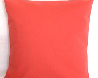 Coral Decorative Pillow Cover - 18x18 or 20x20 inch Solid Throw Cushion Cover - Solid Coral, More Sizes Available