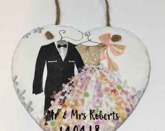 Personalised gift/wedding/heart/personalised wedding heart/wedding heart/personalised/gift/wedding gift/slate heart/marriage/Mr & Mrs
