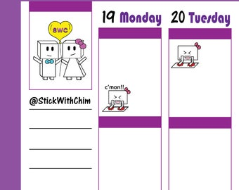 Bow Robot Girl Excited C'mon!   Cute Planner Stickers   Perfect for planners and calendars   R2012