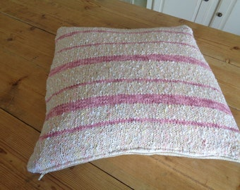 cover pillow, crochet cotton and inside out, cotton/linen fabric
