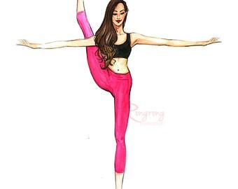 Yogi girl illustration, Yogi art, Girly wall art,Fashion illustration, Fashion wall art, Gift for Yogi, Yoga lover gift, Girl room art