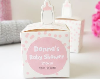Personalised Baby Bottle Favour Boxes - Cute Baby Shower Favor - Christening Bomboniere - Macaron Chocolate Cookie Boxes