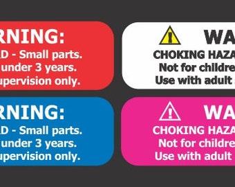 "500 Small 1.75"" X .5"" Choking Hazard Warning Labels"