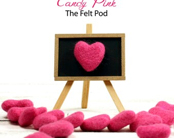 Felt Hearts -  3 to 4 cm - 10 count - Color CANDY PINK - Wool Felt Hearts