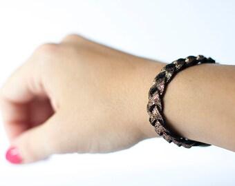 Braided Leather Bracelet / Brown Sugar