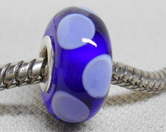 Handmade Lampwork Bead Transparent Blue with White and Violet Dots Silver Cored