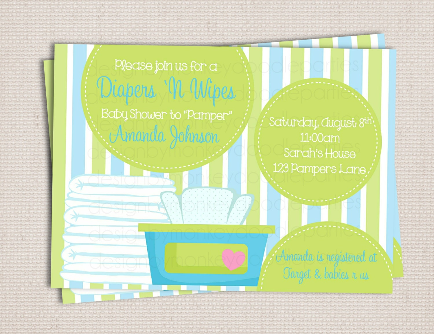 Diaper And Wipes Baby Shower Invitation Wording Diaper And Wipe Blue Green  Baby Boy Custom Printable