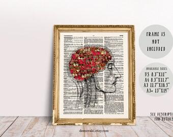 Anatomy Brain Wall Art, Human Brain with Butterflies, Anatomical Print, Dictionary Art, Anatomy Print, Butterflies Art, Anatomy Art, 200