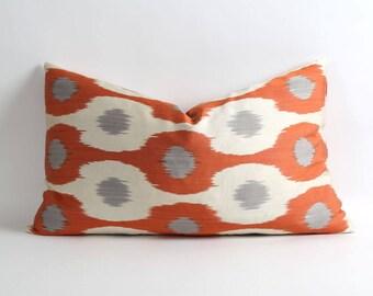 16x26 inch Uzbek silk ikat pillow cover // Double side // orange white and gray pillows // handwoven handdyed pillows