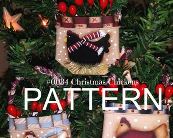 Chicken painting pattern, chicken Christmas ornaments, painting epattern, Christmas ornament pattern, tole painting, painting patterns,