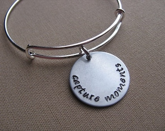"""SALE- Hand-Stamped Bangle Bracelet- """"capture moments""""- ONLY 1 Available"""
