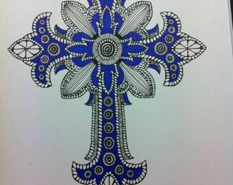 Zentangle Inspired Art- Ornate Cross Drawing