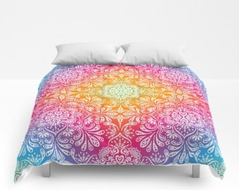 Mandala Duvet Cover Rainbow Mandala Comforter meditation colorful print bedding floral dorm bedding girls bedding king queen full duvet