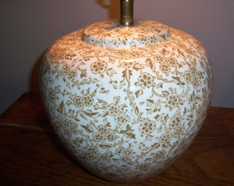 CLEARANCE Vintage Large Staffordshire England Arden Burleigh Light Brown Beige Ceramic Lamp