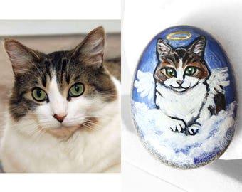 Custom Pet Painting, River Rock, Cat Portrait, Dog Owner Memorial Gift, Pet Loss, Decorative Art, In Memory, Guardian Angel, Beach Stone