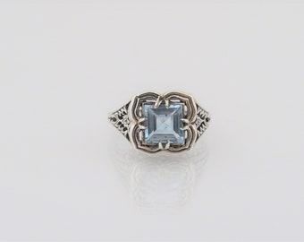 Vintage Sterling Silver Princess cut Aquamarine Filigree Ring Size 7